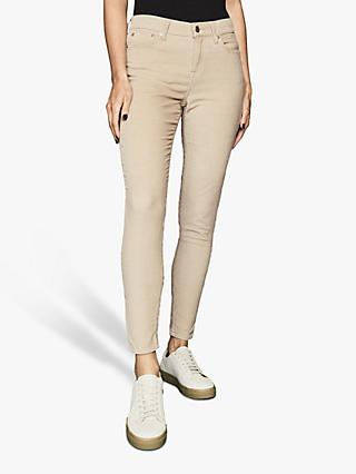 Reiss Lux Cord Mid Rise Skinny Jeans, Stone