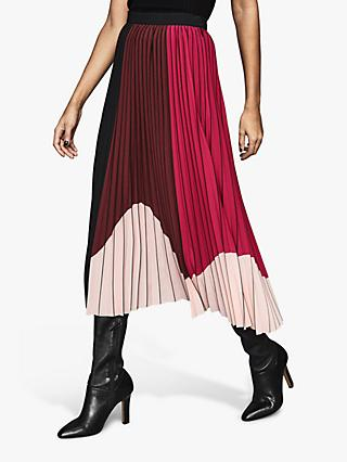 Reiss Carlie Colour Block Pleated Skirt, Black/Pink
