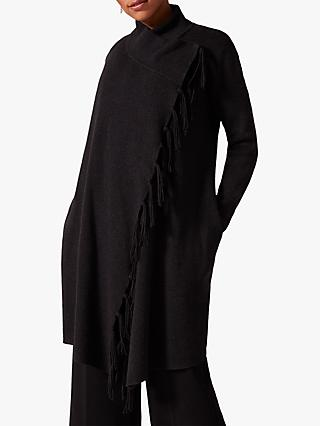 Phase Eight Talia Tassel Knit Coat, Charcoal