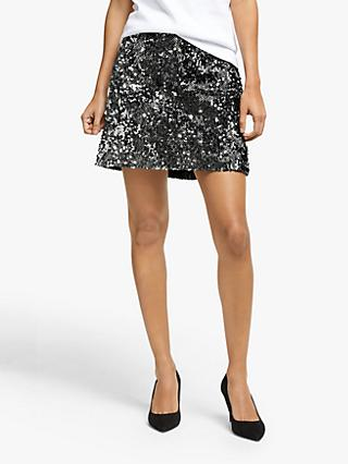 MICHAEL Michael Kors Sequin Herringbone Skirt, Black/Silver