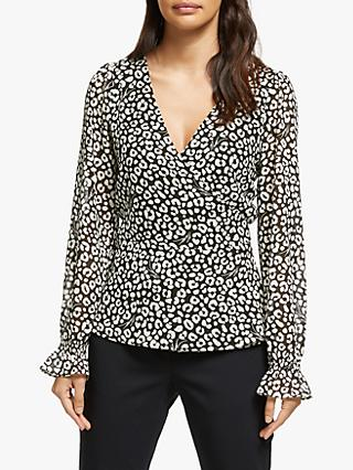 MICHAEL Michael Kors Cat Print Wrap Top, Black/Multi