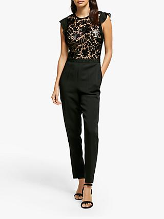 MICHAEL Michael Kors Lace Sequin Ruffle Jumpsuit, Black