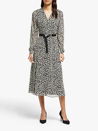 MICHAEL Michael Kors Animal Print Midi Dress, Black/Bone