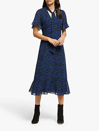 MICHAEL Michael Kors Animal Tie Neck Dress, Black/Twilight Blue