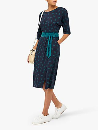 Monsoon Penny Palm Print Wrap Dress, Navy