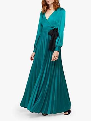 Monsoon Dahlia Satin Wrap Pleated Maxi Dress