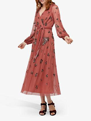 Monsoon Rosanna Embellished Midi Dress, Rose
