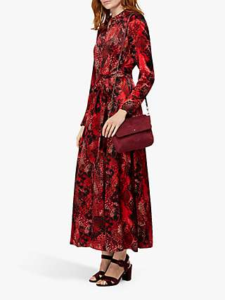 Monsoon Synthia Snake Print Shirt Dress, Red