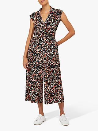 Monsoon Malerie Print Jumpsuit, Navy
