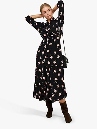 Monsoon Mazi Floral Maxi Dress, Black