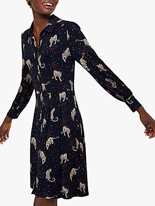 Monsoon Leonard Leopard Print Shirt Jersey Dress, Navy