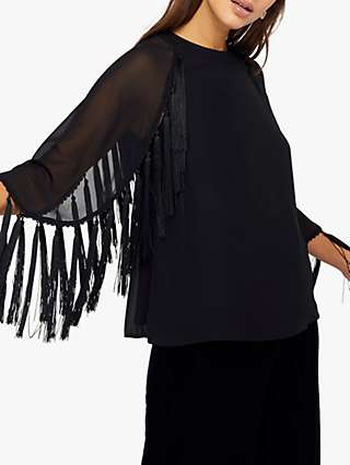 Monsoon Tiff Tassel Fringe Top, Black
