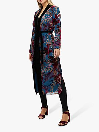 Monsoon Lyra Floral Devore Kimono Jacket, Teal