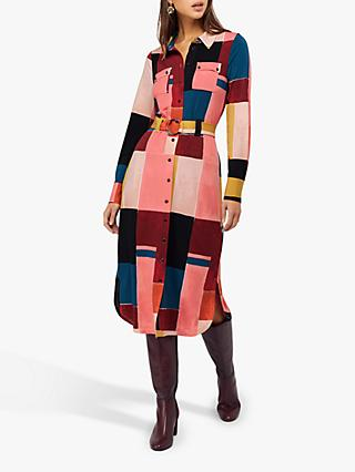 Monsoon Meg Colour Block Print Jersey Shirt Dress, Berry