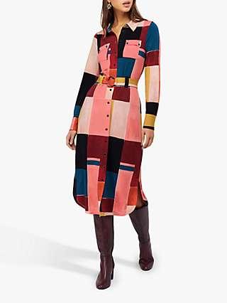 Monsoon Meg Colour Block Print Jersey Shirt Dress, Berry