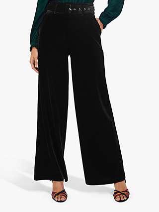 Monsoon Victoria Wide Leg Velvet Trousers, Black