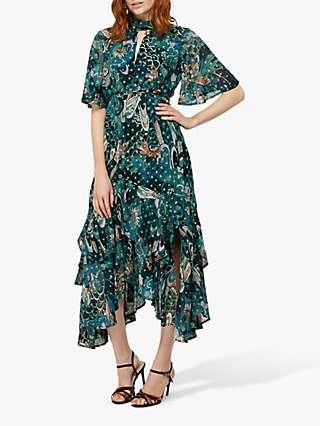 Monsoon Zoe Print Midi Hanky Dress, Teal