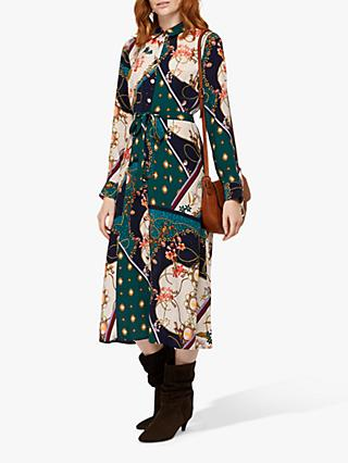 Monsoon Pearly Queen Print Shirt Dress, Teal/Multi