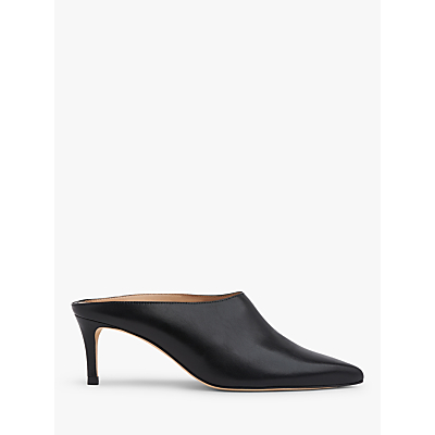 l.k.bennett hettie backless mid heel leather court shoes, black