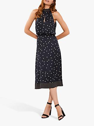 Mint Velvet Spot Print Halter Dress, Navy