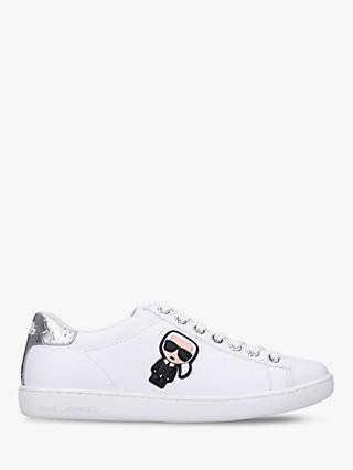 KARL LAGERFELD Kupsole Leather Lace Up Trainers, White