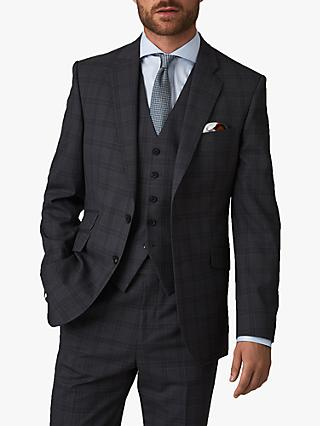 Jaeger Wool Overcheck Regular Fit Suit Jacket, Grey