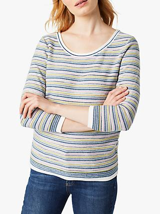 White Stuff Misty Stripe Jumper, Green Stripe