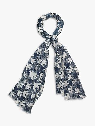 White Stuff Migrating Bird Cotton Scarf, Blue