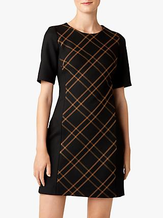 Hobbs Petite Mari Check Panel Dress, Black/Camel