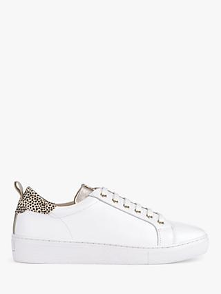 Mint Velvet Allie Lace Up Trainers, White/Animal Print