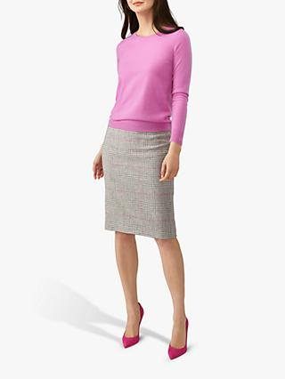 Pure Collection Wool Pencil Skirt, Grey/Pink