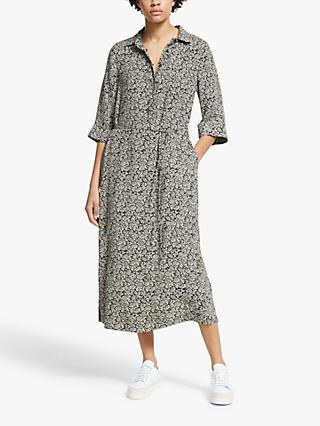 John Lewis & Partners Floral Print Shirt Dress, Black/White