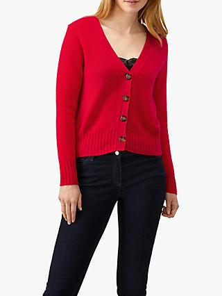 Pure Collection Chunky V-Neck Cashmere Cardigan, Pillarbox Red