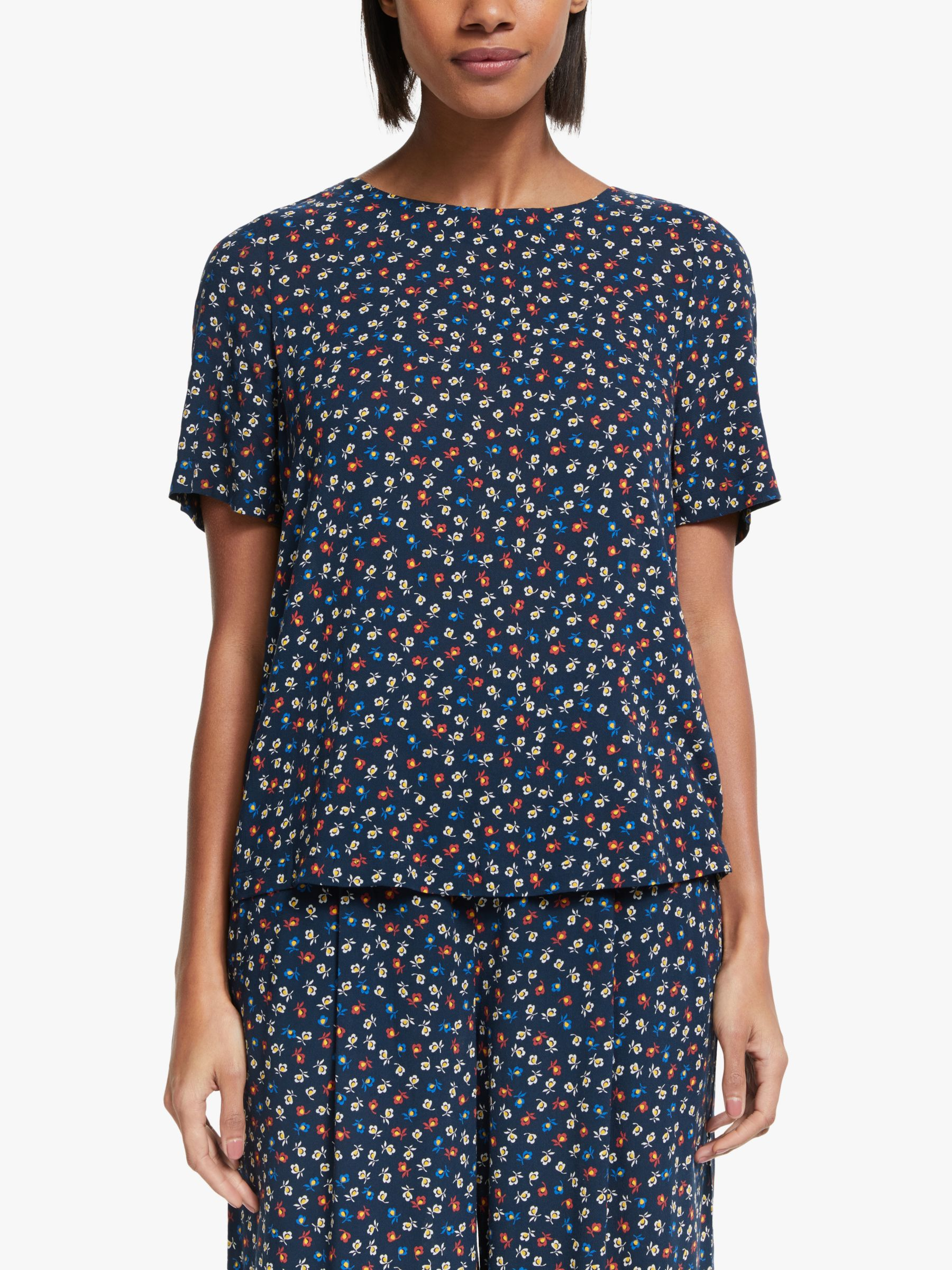 Collection WEEKEND by John Lewis Collection WEEKEND by John Lewis Short Sleeve Floral Shell Top, Black/Blue