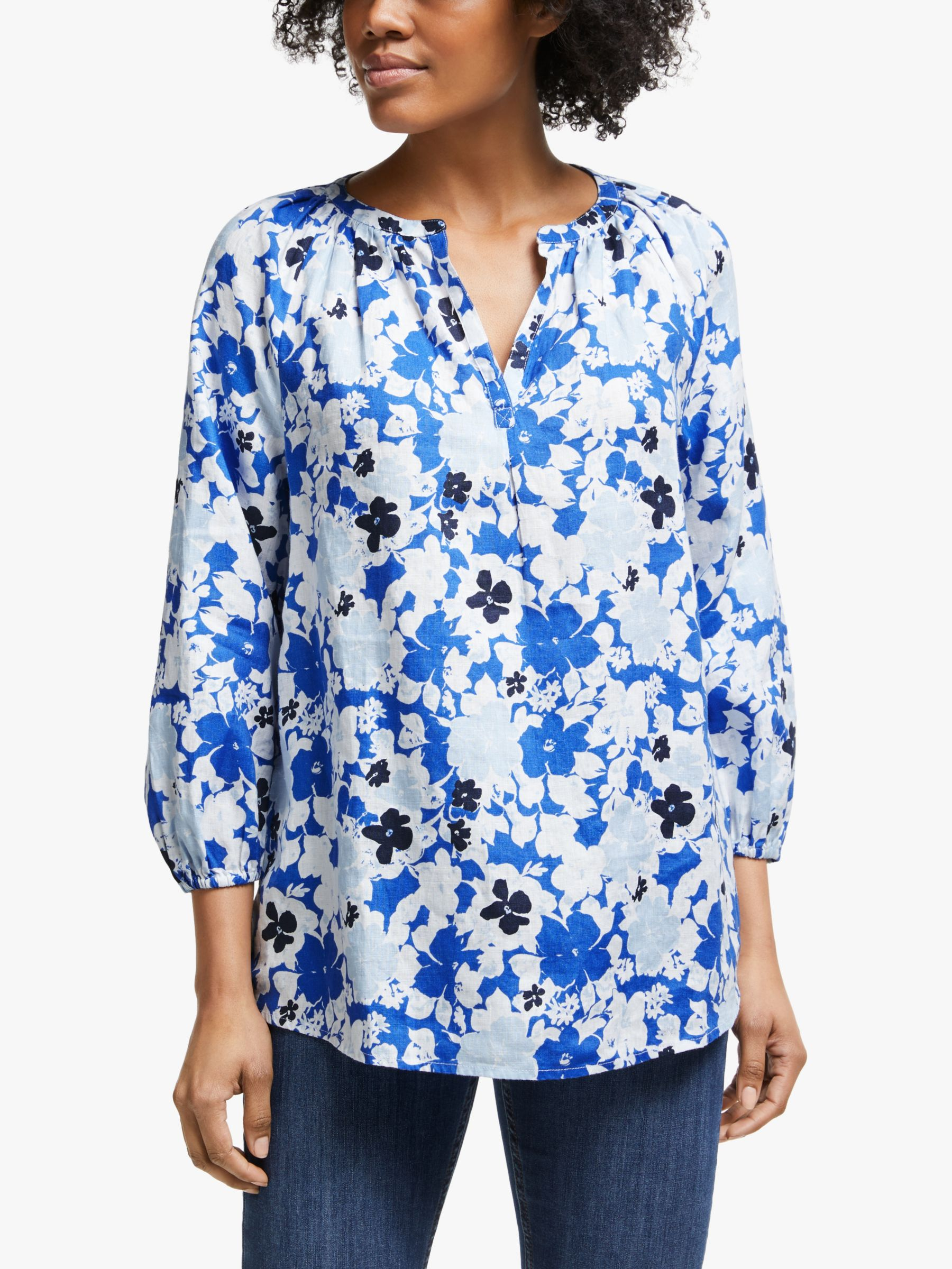 Collection WEEKEND by John Lewis Collection WEEKEND by John Lewis Lavinia Linen Floral Smock Top, White/Blue