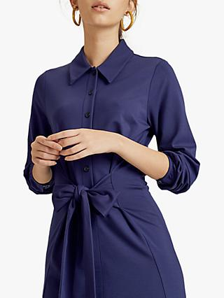 Jigsaw Tie Front Shirt Dress, Navy