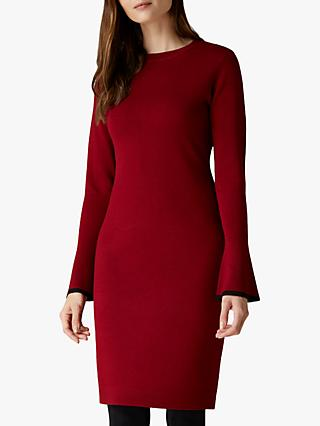 Jaeger Fluted Cuff Wool Knit Dress, Red Multi