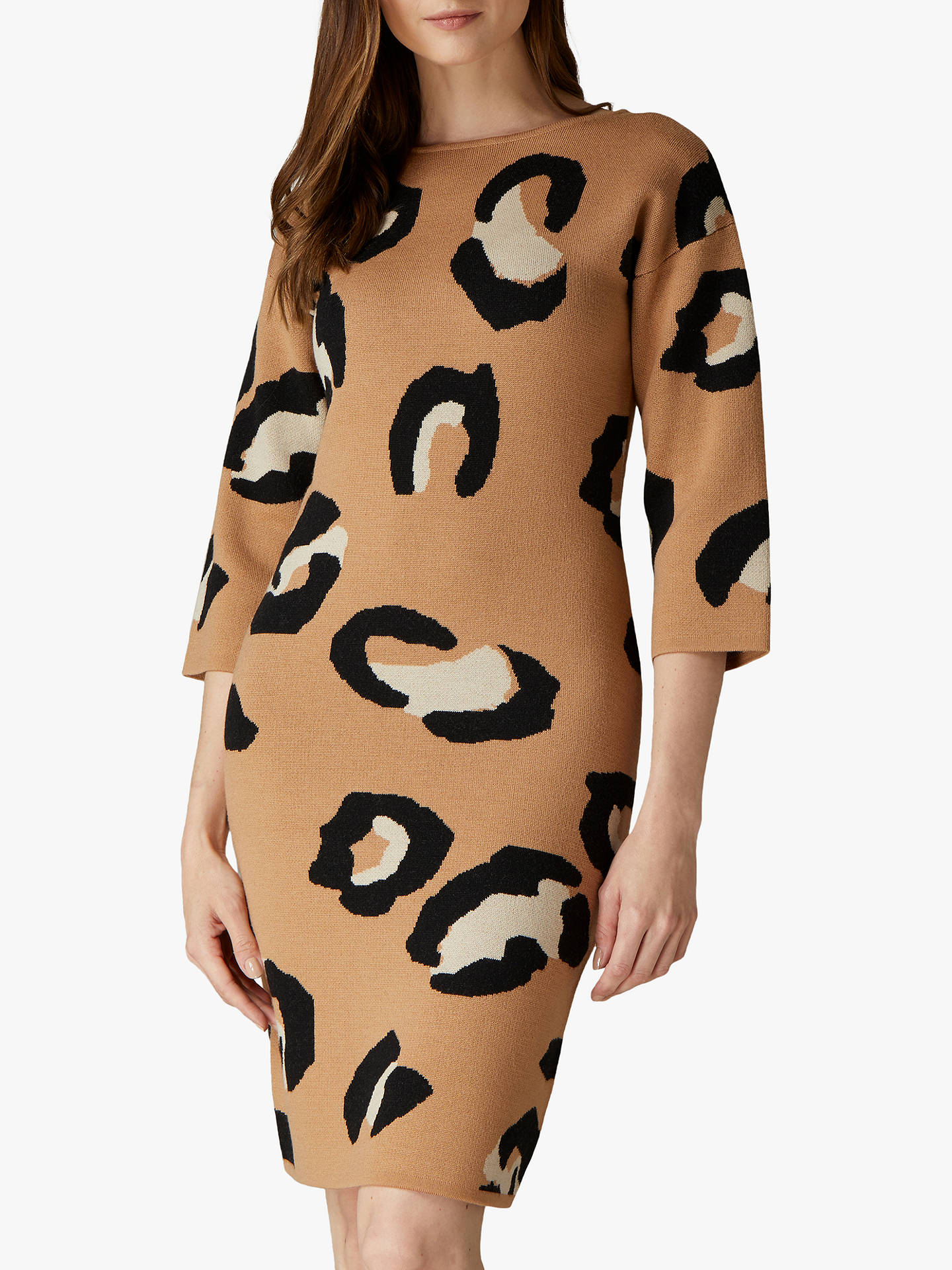 Buy Jaeger Animal Knitted Dress, Camel, XS Online at johnlewis.com