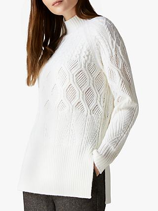 Jaeger Patchwork Cable Jumper, Ivory