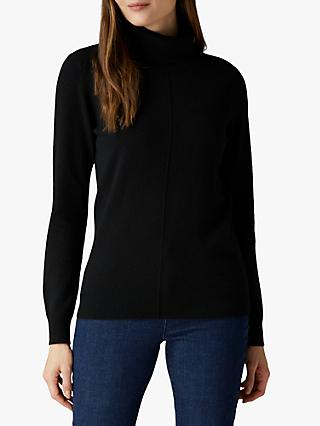 Jaeger Reverse Stitch Roll Neck Cashmere Jumper
