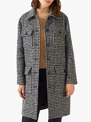 Jigsaw Utility Check Wool Coat, Navy