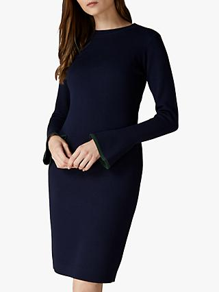 Jaeger Fluted Cuff Wool Knit Dress, Blue Green Multi