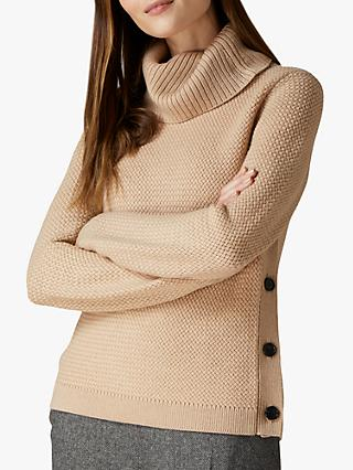 Jaeger Cowl Neck Button Wool Jumper, Camel