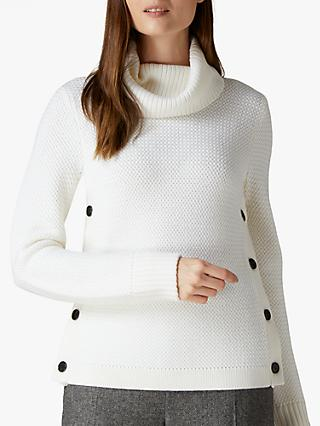 Jaeger Cowl Neck Button Wool Jumper, Ivory