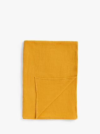 John Lewis & Partners Lightweight Waffle Throw, Mustard
