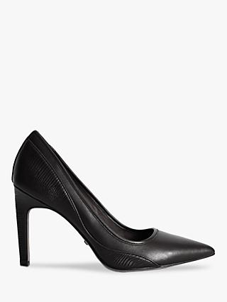 Reiss Maddy Snake Detail Leather Court Shoes, Black