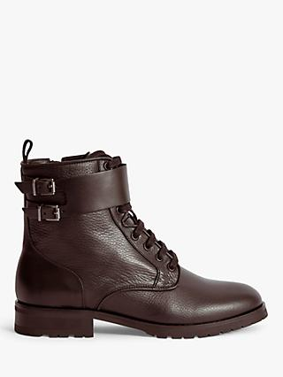 Reiss Artemis Leather Hiker Boots, Chocolate