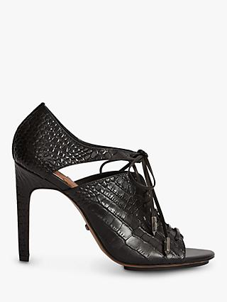 Reiss Mila Leather Lace Up Heeled Shoes, Black