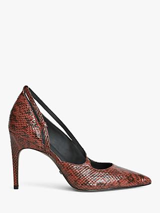 Reiss Geniveve Leather Court Shoes, Burnt Orange