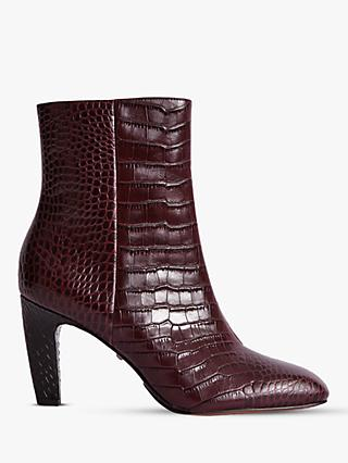Reiss Sophia Leather Block Heel Ankle Boots